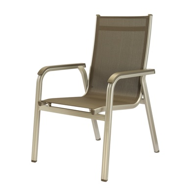 Basic Deck or Patio Stack Arm Chair - Black Textilene - Silver