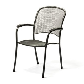 Carlo Wrought Iron Pool and Patio Arm Chair - Gray
