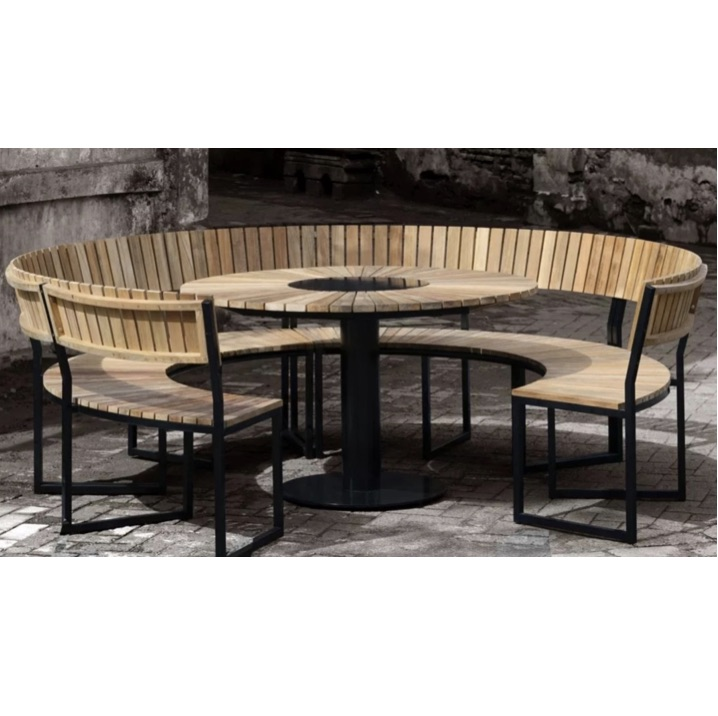 Community Table | Wood | Round | Industrial Banquette | 200