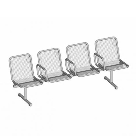 Allegro Modular Mesh Bench - 4 Seat - 3 Arms - PM - Stainless