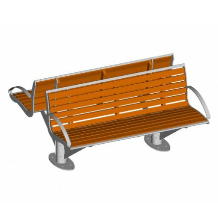 Intersit Urban Streetscape Bench - Pagwood Twin - Surface Mount