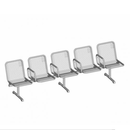 Allegro Modular Mesh Bench - 5 Seat - 4 Arms - PM - Stainless