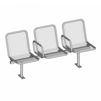 Allegro Passenger Seating System - 3 Seat - 2 Arms - SM