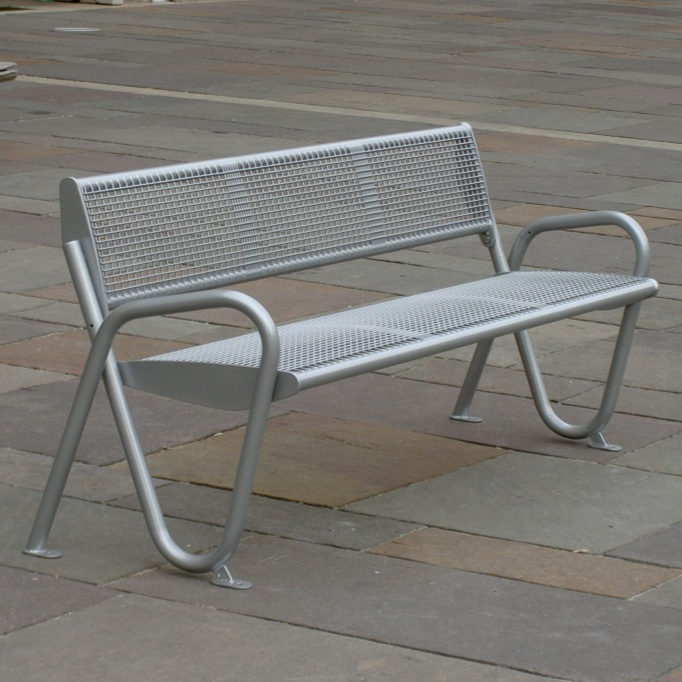 Alpha Mesh Streetscape Bench - Surface Mount