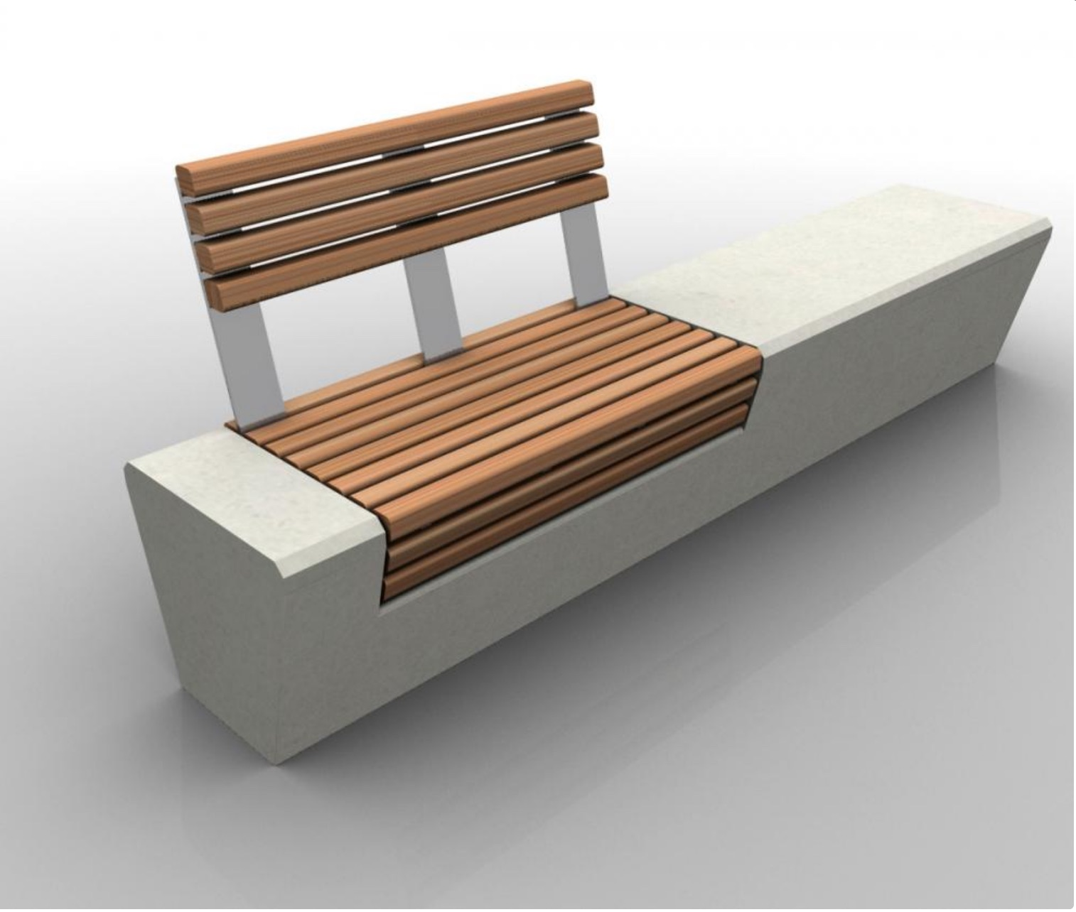 Precast Bench | Wood Line Back