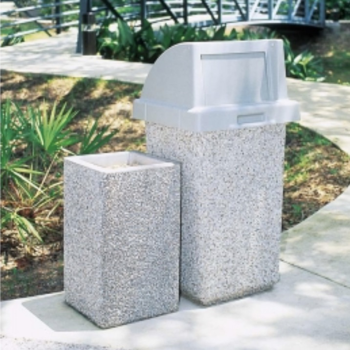Precast Trash Can | Square | 24 Gallons | 1015