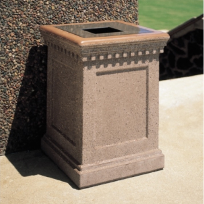 Precast Trash Can | Square | 22 Gallons | 1022