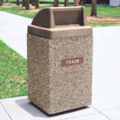 Precast Trash Can | Square | 44 Gallons | 1029